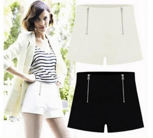Women Double Zipper Shorts High Waisted Chiffon Hot Mini Hot Pants Trousers